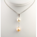 Pendant 925 Sterling Silver Rhodium plated Double Round shape Freshwater White and Peach