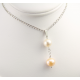 Pendentif Argent Massif Rhodié double Perle d'eau douce rondes Blanche et Pêche
