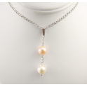 Pendant 925 Sterling Silver Rhodium plated Double Round shape Freshwater Peach and White