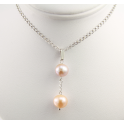 Pendant 925 Sterling Silver Rhodium plated Double Round shape Freshwater Lavender and Peach