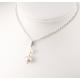 Pendentif Argent Massif Rhodié double Perle d'eau douce ronde couleur naturelles Blanche et Lavande