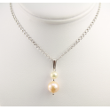 Pendant 925 Sterling Silver Rhodium plated Round Freshwater White and Peach