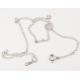 Pendentif Argent Massif Rhodié double Perle d'eau douce ronde couleur naturelles Blanche et Pêche