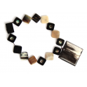 Natural Horn Necklace - Square Medaillon with Abalon mother of pearl