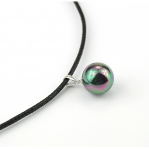 Pendant - metallized mother-of-pearl ball