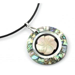 Pendentif Fleur en nacre blanche et Abalone