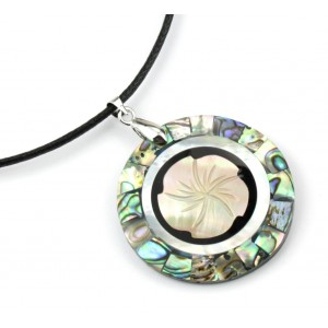 Flower Pendant - Abalon Mother of Pearl (paua shell) and white shell