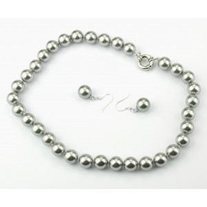 Jewelry set Necklace with large clasp and Earrings Hook Solid Sterling Silver 925 - Round Mother-of-pearl metallized ball