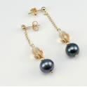 Boucle d'oreille Plaqué Or Swarovski Topaze et Perle d'eau douce Noire