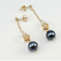 Earrings 18K Gold Plated Swarovski Topaz and Black Freshwater Pearl
