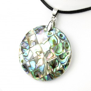 Necklace - Abalon Mother of Pearl (paua shell) - Round mosaic