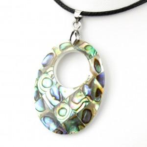 Pendentif en nacre d'abalone - Mosaïque ovale trou rond