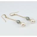 Boucle d'oreille Plaqué Or Gold Filled 14 K Swarovski Black Diamond et Perle d'eau douce Blanche