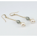 Boucle d'oreille Plaqué Or Swarovski Black Diamond et Perle d'eau douce Blanche
