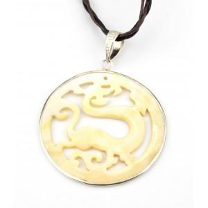 Pendentif en nacre blanche et Argent 925 - Dragon stylisé