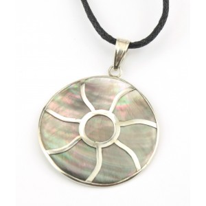 Pendant in black mother of pearl and 925 Sterling silver - Full sun
