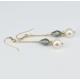 Boucle d'oreille Plaqué Or Perle et Swarovski Blanche et Black Diamond