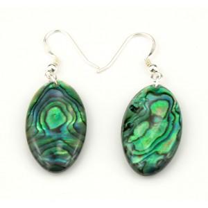 Boucle d'oreille en nacre abalone - Ovale double face