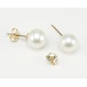 Boucle d'oreille Plaqué Or 18 Carats Bouton Perle d'eau douce Blanche