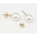 Earrings 18K Gold Plated stud White Freshwater Pearl