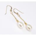 Boucle d'oreille Plaqué Or 18 Carats Pendentif crochet Perle d'eau douce Blanche