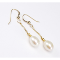 Earrings 18K Gold Plated Hook and Pendant White Freshwater Pearl