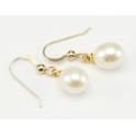 Boucle d'oreille Plaqué Or 18 Carats crochet Perle d'eau douce Blanche