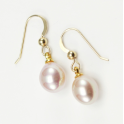 Earrings 18K Gold Plated Hook Lavender Freshwater Pearl