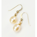 Boucle d'oreille Plaqué Or 18 Carats crochet Perle d'eau douce Pêche
