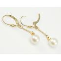 Boucle d'oreille Plaqué Or 18 Carats Pendentif dormeuse Perle d'eau douce Blanche