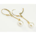 Earrings 18K Gold Plated Pendant and Leverback White Freshwater Pearl