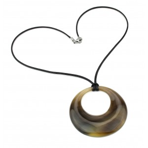 Pendant made of Genuine natural Horn - Hollow circle