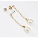 Boucle d'oreille Plaqué Or 18 Carats Pendentif Tige et poussoir Perle d'eau douce Blanche