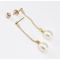 Earrings 18K Gold Plated Pendants stud and ear nuts White Freshwater Pearl