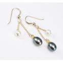 Boucle d'oreille Plaqué Or Gold Filled 14 K double pendentif Perle d'eau douce Noire et Blanche