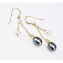 Earrings 14K Gold Filled double pendant Black and White Freshwater Pearl