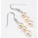 Boucle d'oreille Argent Massif Rhodié Triple Perle d'eau douce Golden