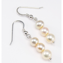 Earring 925 Sterling Silver Rhodium plated Three Golden Freshwater Pearl