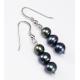 Boucle d'oreille Argent Massif Triple perle Noire