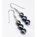 Earring 925 Sterling Silver Rhodium plated Three Black Freshwater Pearl