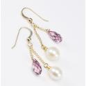Boucle d'oreille Plaqué Or Gold Filled 14 K Swarovski Rose antique et Perle d'eau douce Blanche