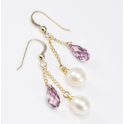 Earrings 18K Gold Plated Swarovski Antic Pink and White Freshwater Pearl