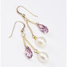 Boucle d'oreille Plaqué Or Swarovski Rose antique et Perle Blanche