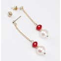 Boucle d'oreille Plaqué Or Gold Filled 14 K Swarovski Rubis et Perle d'eau douce Blanche