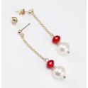 Boucle d'oreille Plaqué Or Swarovski Rubis et Perle d'eau douce Blanche