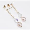 Boucle d'oreille Plaqué Or Gold Filled 14 K Swarovski Aurore Boréale et Perle d'eau douce Lavande