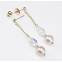Earrings 18K Gold Plated Swarovski Aurora Borealis and Lavender Freshwater Pearl
