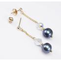 Boucle d'oreille Plaqué Or Gold Filled 14 K Swarovski Cristal disco et Perle d'eau douce Noire