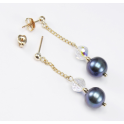 Earrings 18K Gold Plated Swarovski Crystal Disco and Black Freshwater Pearl