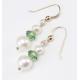 Boucle d'oreille Plaqué Or Swarovski Toupie Erinite et double Perle Blanche